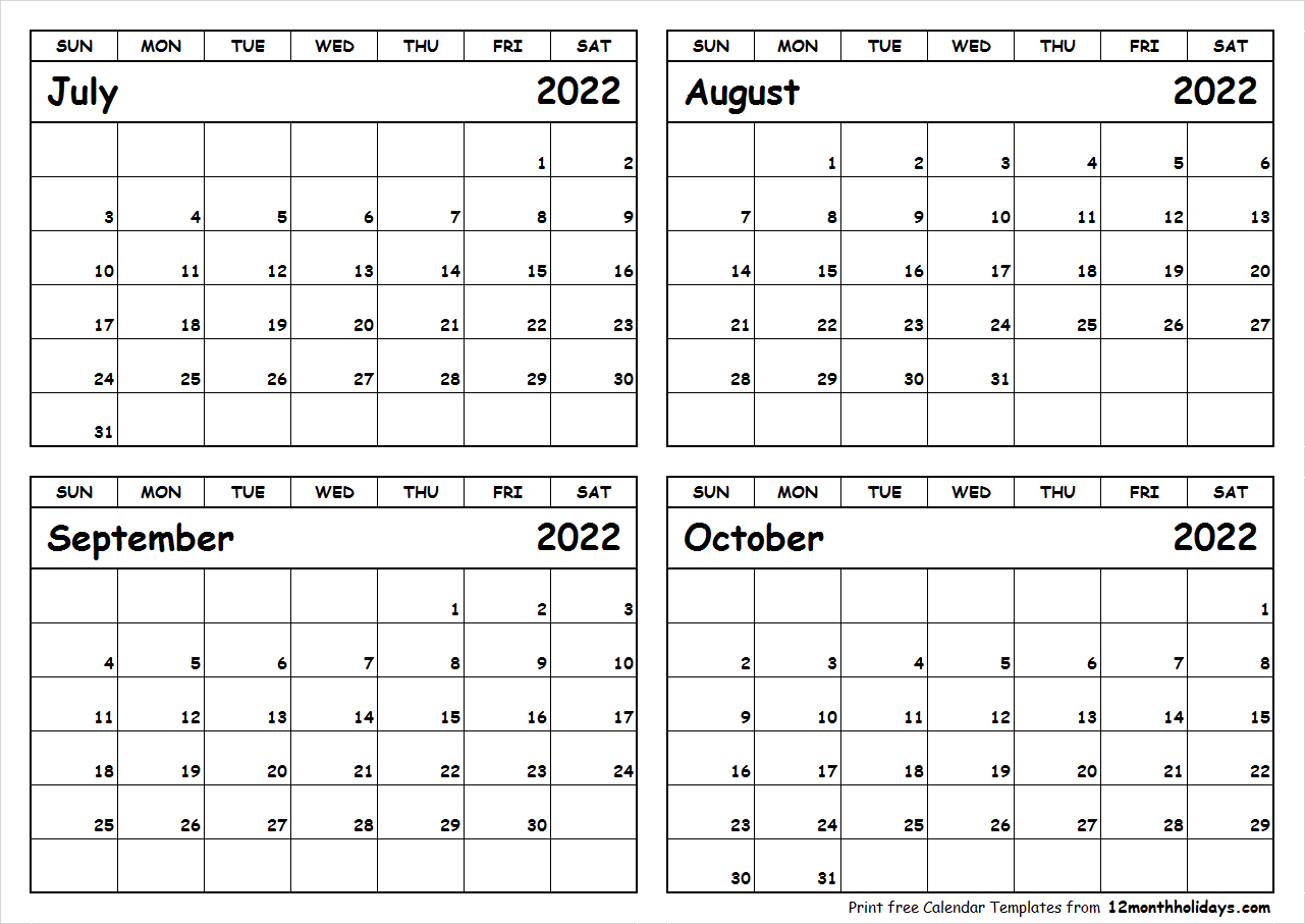 Printable July to October 2022 Calendar