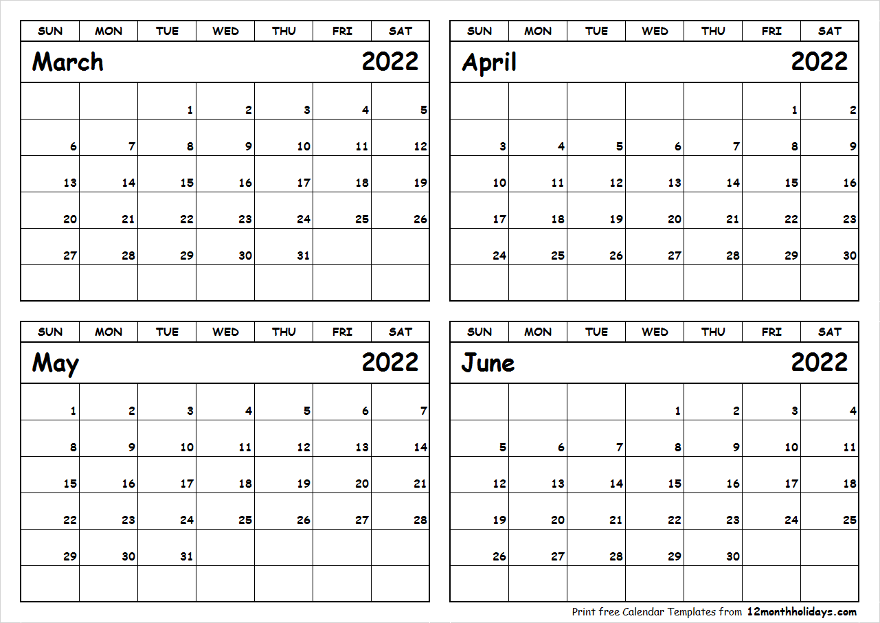 Printable March to June 2022 Calendar