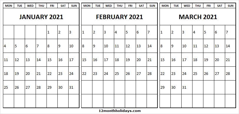three month calendar january to march 2021