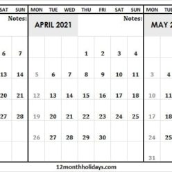 2021 Calendar March to May Template