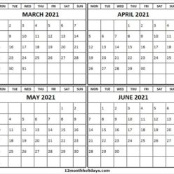 Blank Calendar March to June 2021