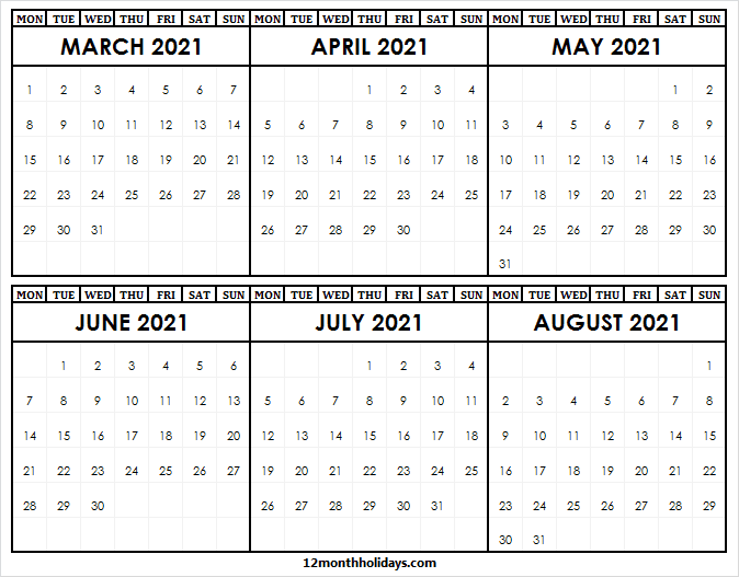 Blank March to August 2021 Calendar Printable