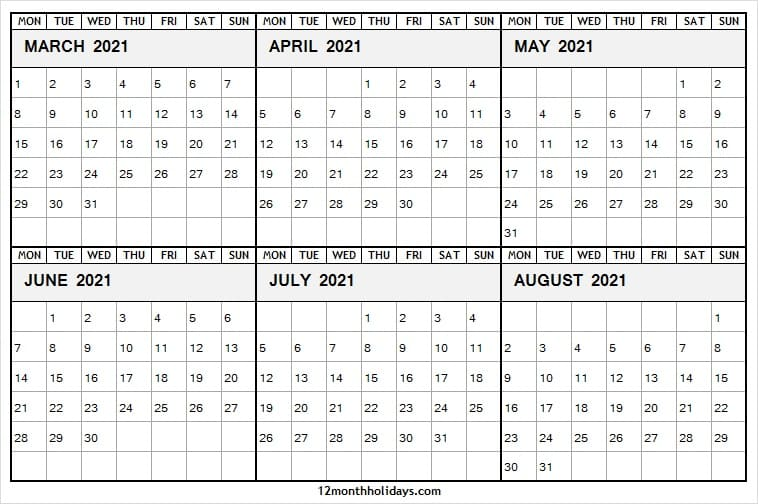 Calendar March to August 2021 Template Free
