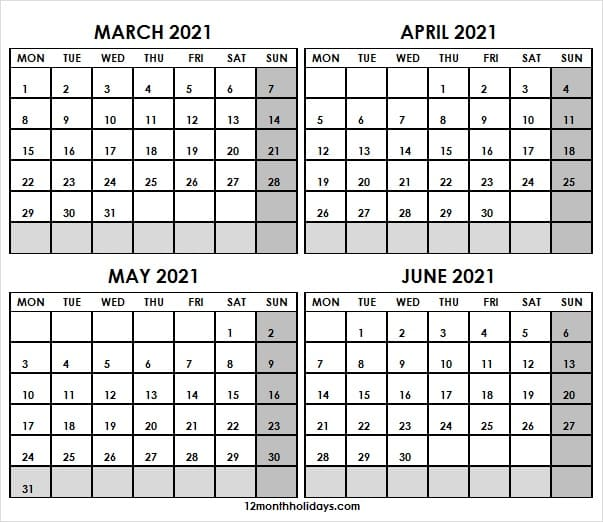 Calendar March to June 2021 Template Free