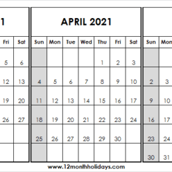 Calendar March to May 2021 Holidays
