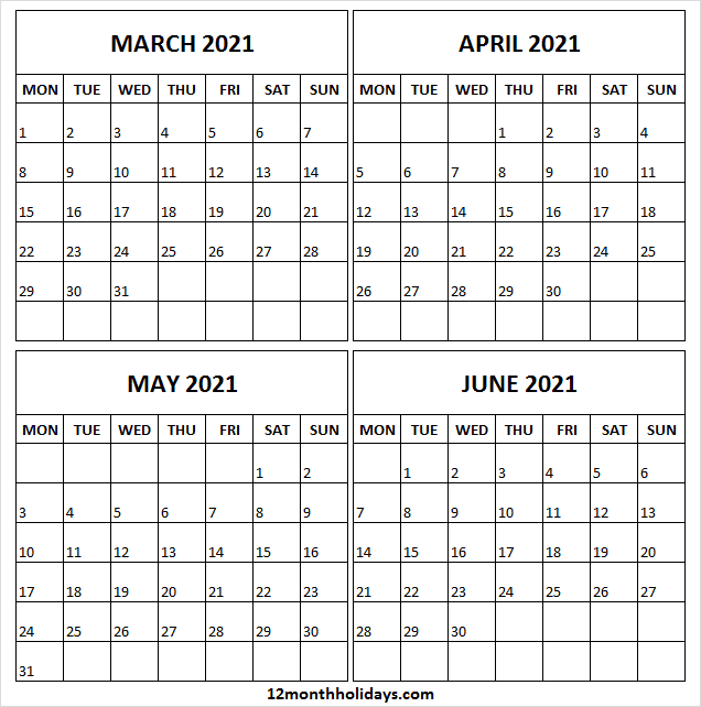 Free March to June 2021 Calendar Template