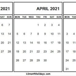 Free March to May 2021 Calendar Template