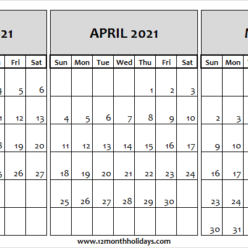 Free March to May 2021 Calendar to Print