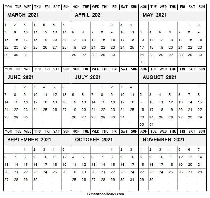 Free March to November 2021 Calendar Template