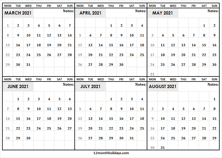 March to August Calendar 2021 Printable