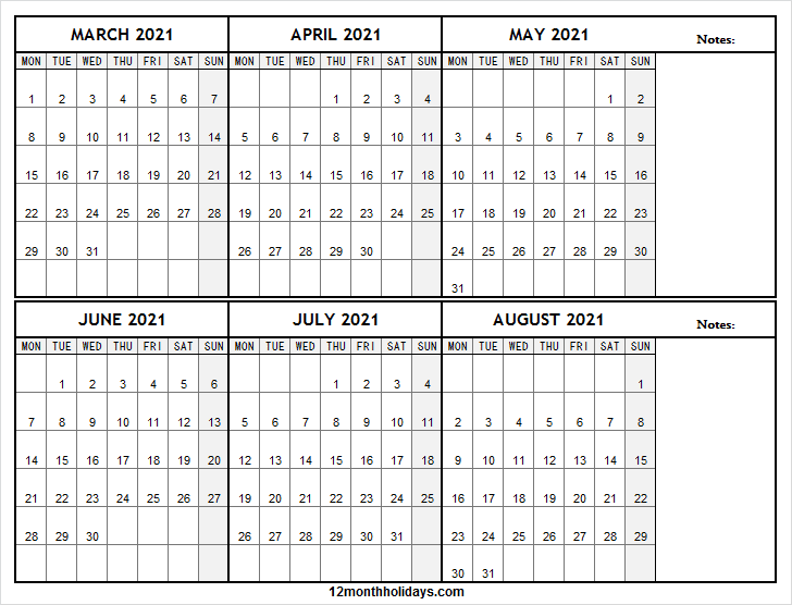 March to August Calendar 2021 with Notes