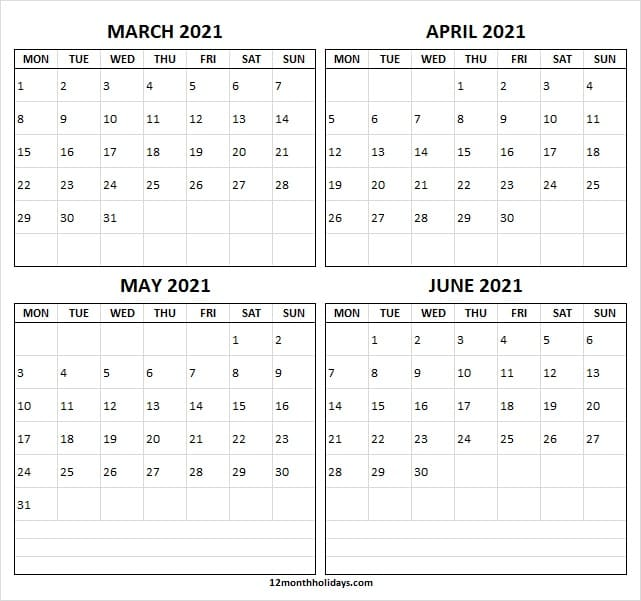 March to June 2021 Calendar Free
