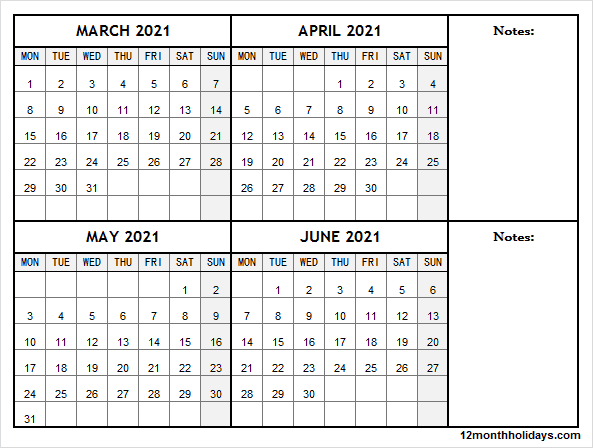 March to June Calendar 2021 with Notes