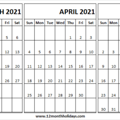 March to May 2021 Calendar Sunday Start Template