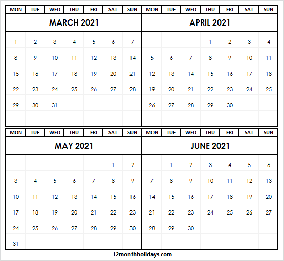 Printable March to June 2021 Calendar Free