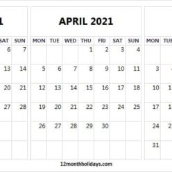 Printable March to May 2021 Calendar Free