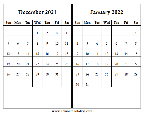 2021 Dec Jan 2022 Calendar Printable