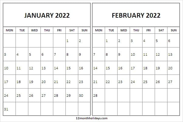 2022 January February Calendar Holidays