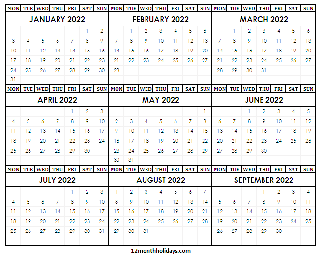 2022 January to September Calendar Template