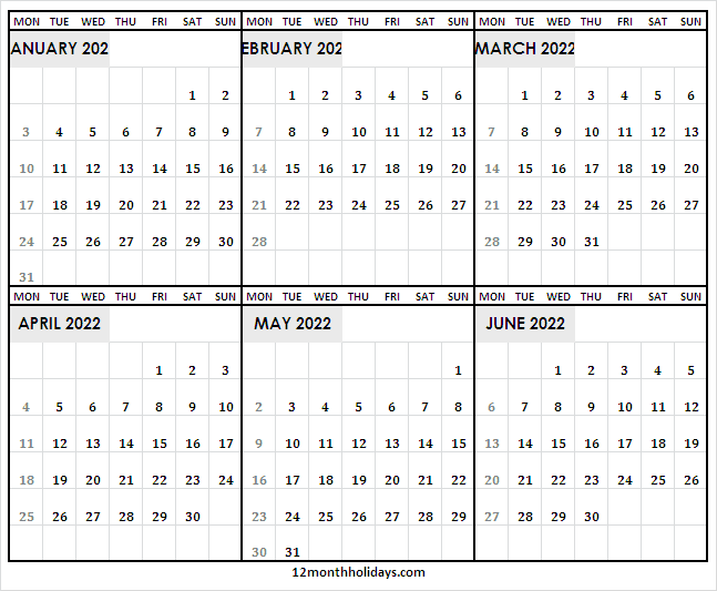 Blank January to June 2022 Calendar Printable
