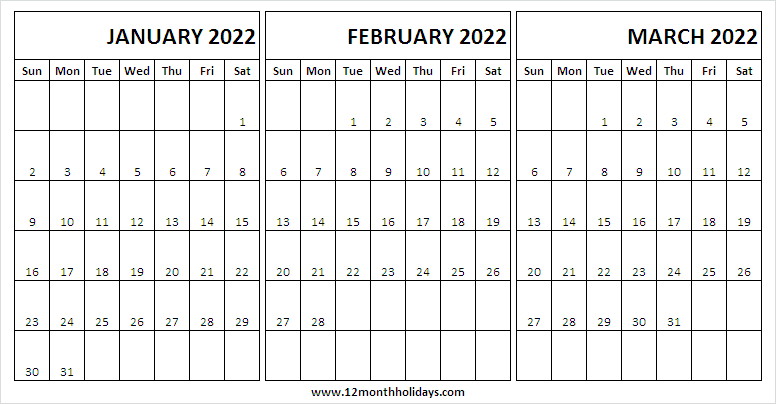 Blank January to March 2022 Calendar Template