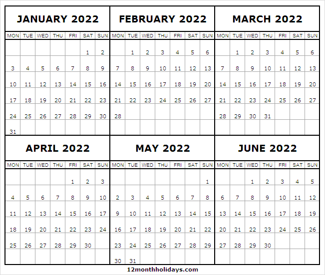 Blank Printable Calendar January to June 2022