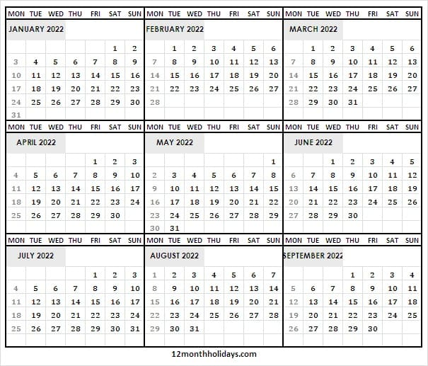 Blank Printable Calendar January to September 2022