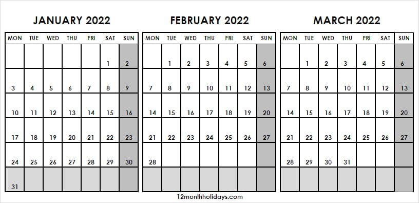 Calendar 2022 January to March Cute