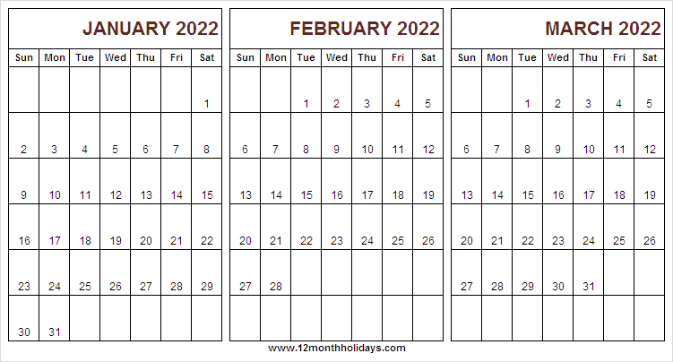 Calendar 2022 January to March Template