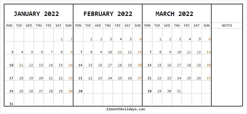 Calendar January to March 2022 Holidays