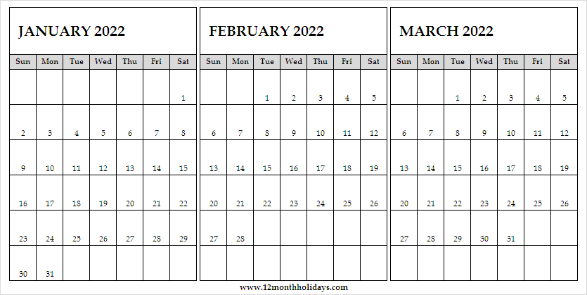Calendar January to March 2022 with Weeks