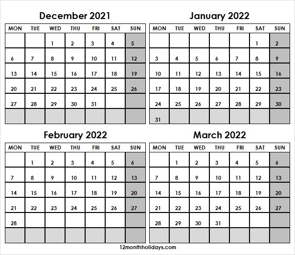 December 2021 to March 2022 Calendar Excel