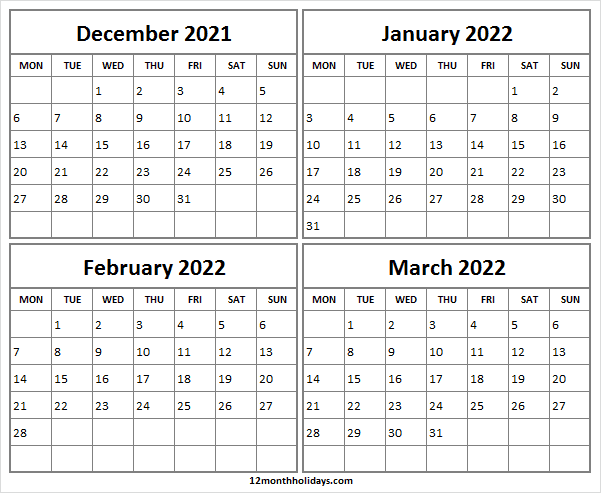 December 2021 to March 2022 Calendar Page