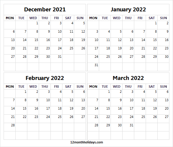 December 2021 to March 2022 Calendar to Print