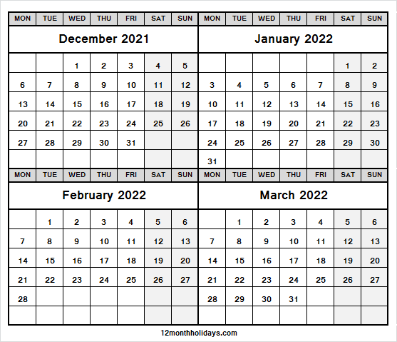 Four Month December 2021 to March 2022 Calendar