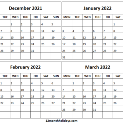 Free December 2021 to March 2022 Calendar Template