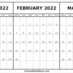 Free January to March 2022 Calendar Template