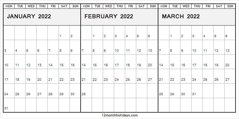 Free January to March 2022 Calendar to Print