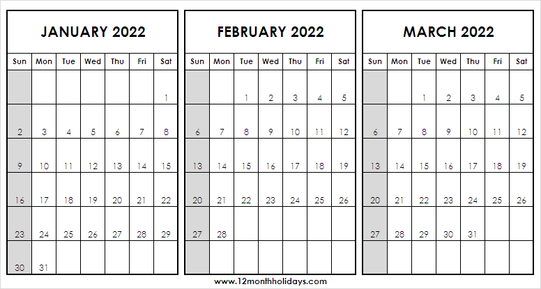 Jan to Mar 2022 Calendar Sunday Start Template