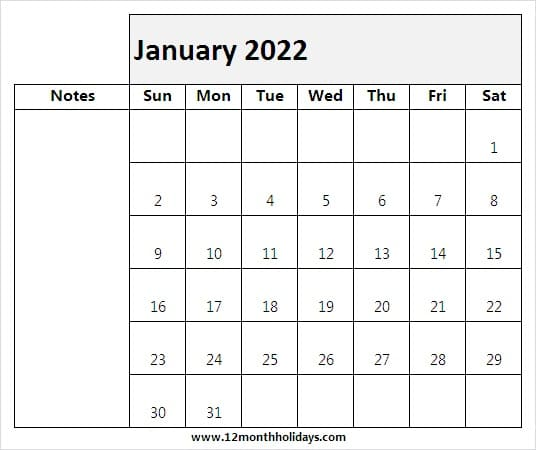 January Printable Calendar 2022 with Notes