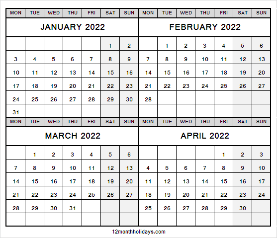 January to April 2022 Calendar Free Printable