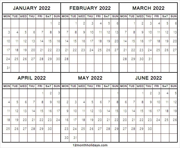 January to June 2022 Calendar