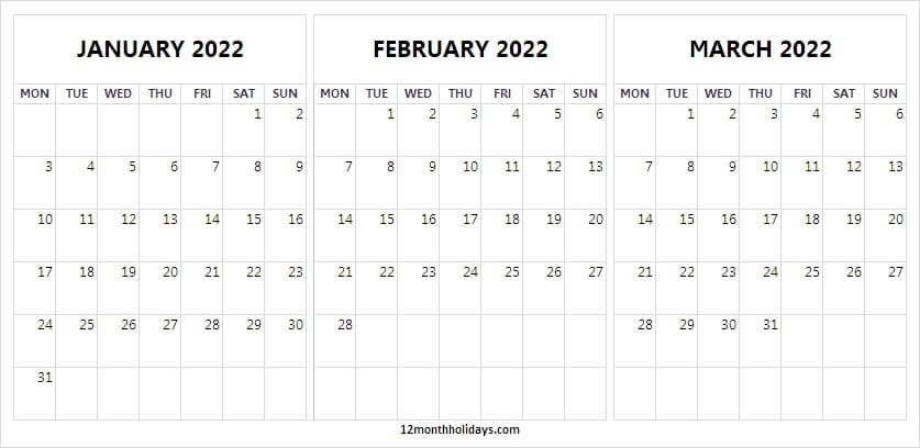 January to March 2022 Calendar Free Printable