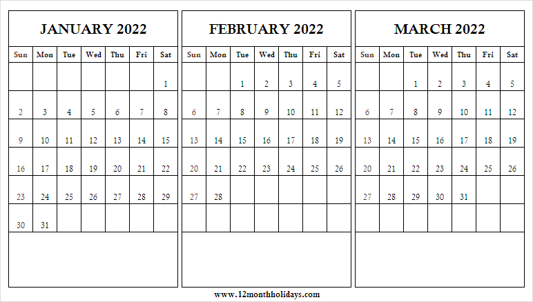 January to March 2022 Calendar JPG