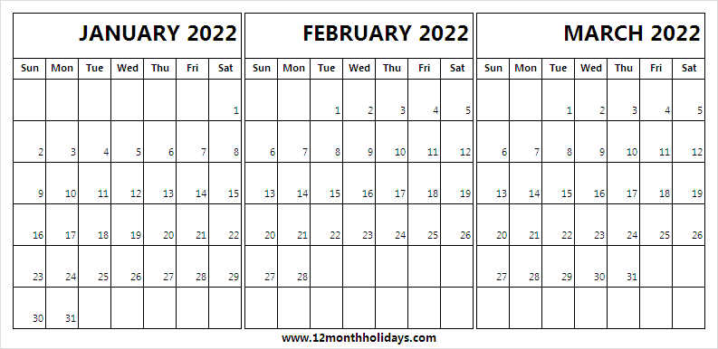 January to March 2022 Calendar Png