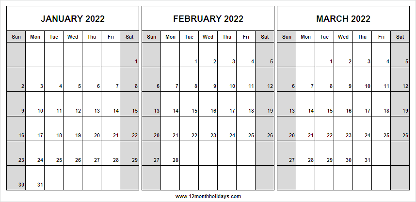 January to March 2022 Calendar Printable Template