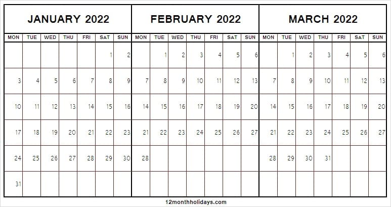 January to March 2022 Calendar Word