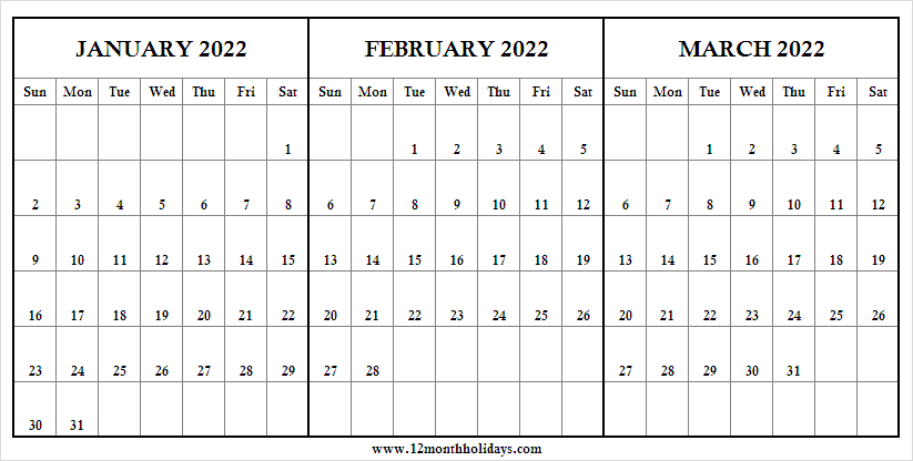 January to March 2022 Printable Calendar List