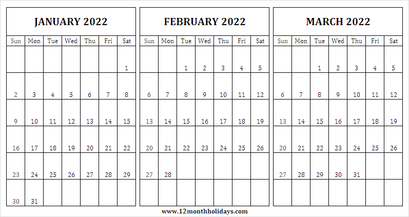 January to March 2022 Printable Calendar