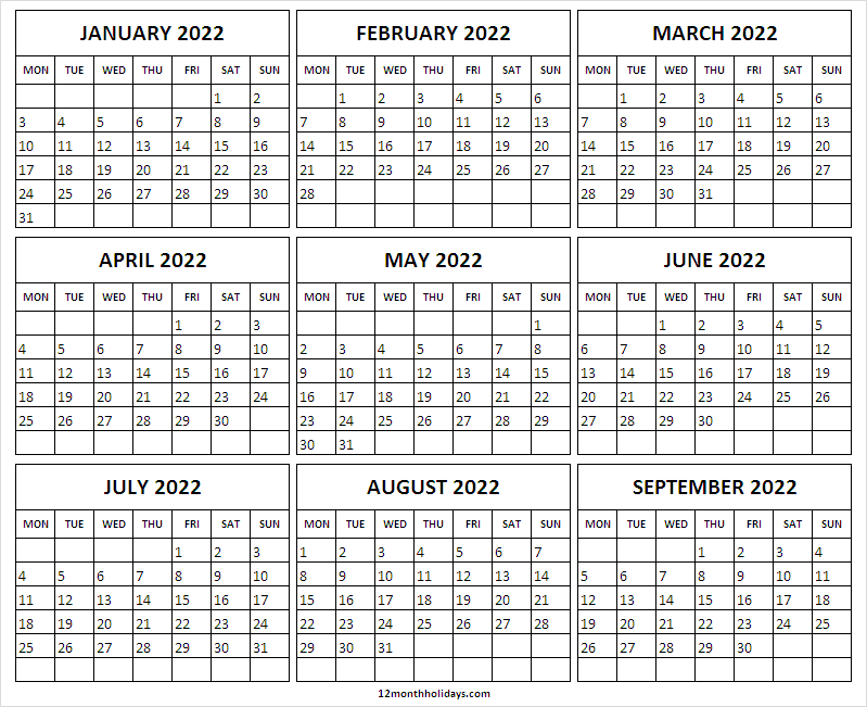 January to September 2022 Calendar